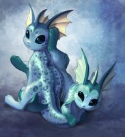 Vaporeon pups (a birthday present) by we-were-in-love