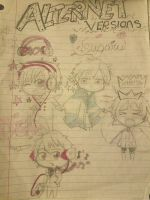 Alternet Versions(DRAWN FROM OTHER CHIBI DRAWINGS) by X-KyaraSomikoCat-X