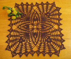Four Square Pineapple Crochet Doily in Brown by doilydeas