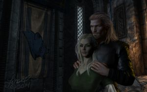 Zarra And Ulfric by CelticWolfwalker