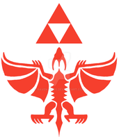 Rodan and Triforce shield emblem by raven-amos