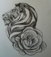 Lion and Rose Tattoo Design by N-B-R-artwork