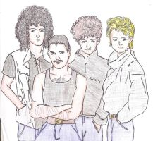 Queen the works / Brian, Freddie, John and Roger by HannyAngel