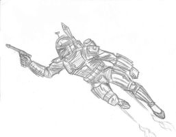 Fett in flight by AndreaKenobi