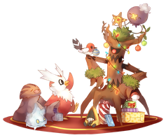 Decorating the Christmas Trevenant by Ethreain