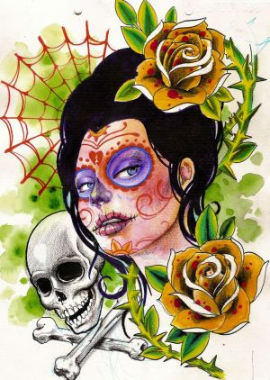 day of dead girl tattoo design. day of dead skull face paint.