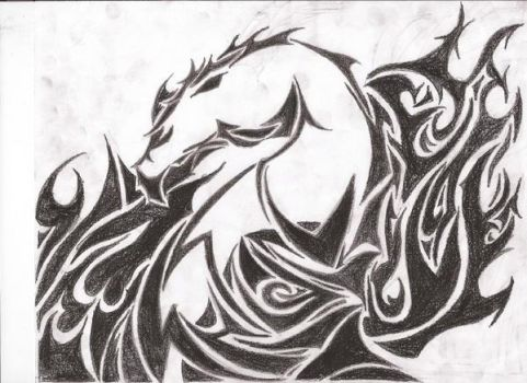 Tribal Dragon and Flames by juggalette223