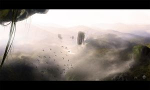 Flying - Matte Painting by Fingerpflaster