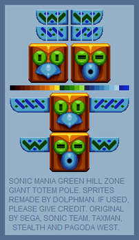 Sonic Mania - GHZ giant totem pole (REMADE) by retrobunyip