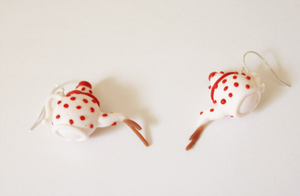 Polymer clay earrings pouring teapot by FairysLiveHere