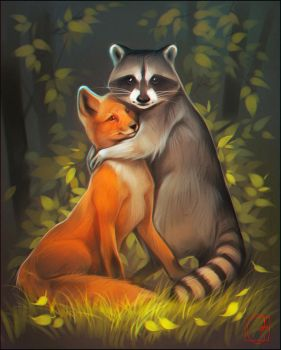 Raccoon and fox by GaudiBuendia