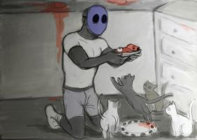 Jack feeds his Cats by LinmirianJoyrex