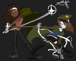 Michonne And Me Vs. The World by MarombieZombiekiller