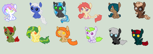 :Free: Lazy adopts !!!!Closed!!!! by REDandYELLOWZ