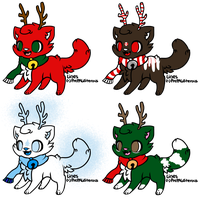 Christmas/winter CatDeer Adopts by The-Insane-Puppeteer