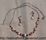 Fuchsia and Silver Necklace Set by KatrinaFTW44
