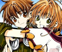 Huggles - Syaoran and Sakura by Ryelleblitz