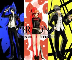 Persona 3, 4: Protagonists by dodomir23
