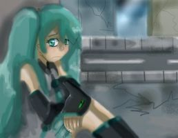 _A Lonely Miku_ by Umbra-Flower