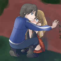 Calem protecting Serena by Glitchedmew