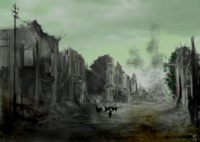 Riddley Walker concept - Bernt Arse Dead Town by popicok