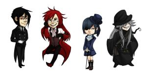Black Butler Chibi Set by kaalashnikov