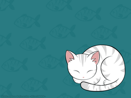 Sleepy Kitty - wallpaper by windingkira