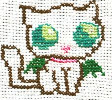 Embroided Kitty for commision by sillver-lady