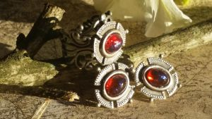 Knights Honor Dragon's Breath Ring Earrings by artistiquejewelry