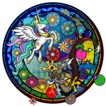 Stained Glass: Discorded Celestia by Akili-Amethyst