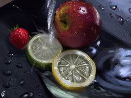 Washing some fruits - Still life painting study by RobertoGatto