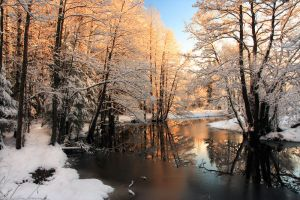 Winter river sunrise light by RomGams
