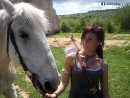 Lara Croft cosplay - with Horse by AdaCroft