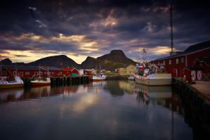 Fishing village harbour by steinliland