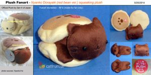 San-X Fanart - Nyanko Dorayaki (red bean) plush by catfruitcup