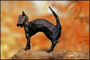 Origami Halloween Cat by FoldedWilderness