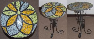 Flower wrought iron mosaic table Yellow by EleonoraIlieva