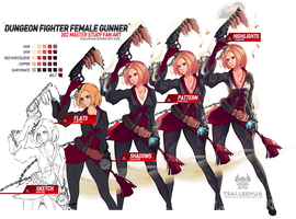 002 M/F Dungeon Fighter Female Gunner Process by tsaileehua