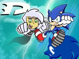 Crossing Worlds: Danny and Sonic by ImTooLayzee