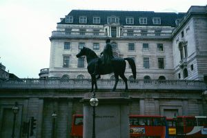 horse and rider statue by zincks