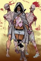 Michonne and her Walkers by CrimsonArtz