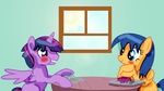 Flare and Dusk eating Donuts together. by T-mack56
