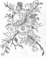 Flowers And Skull by rosacio