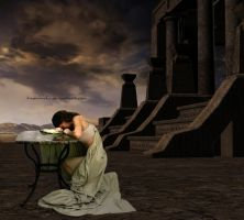 Helen crying Troy ruins. by tiadalmaful