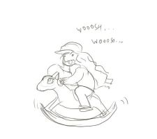 Me on the Ponyta Rocking Horse by Cherry-sama