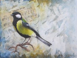 Great tit greeting card by JennyMoedKorpela