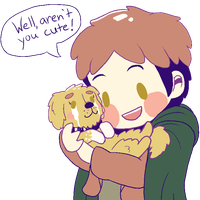 Jean and the cutest puppy ever by suicidal-zombie