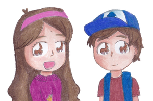 Mabel and Dipper Pines by timelordponygirl