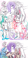 WIP- A Group of monster Girls Together by drawitout