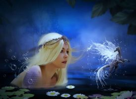 Mermaid and water wyrm by Fae-Melie-Melusine